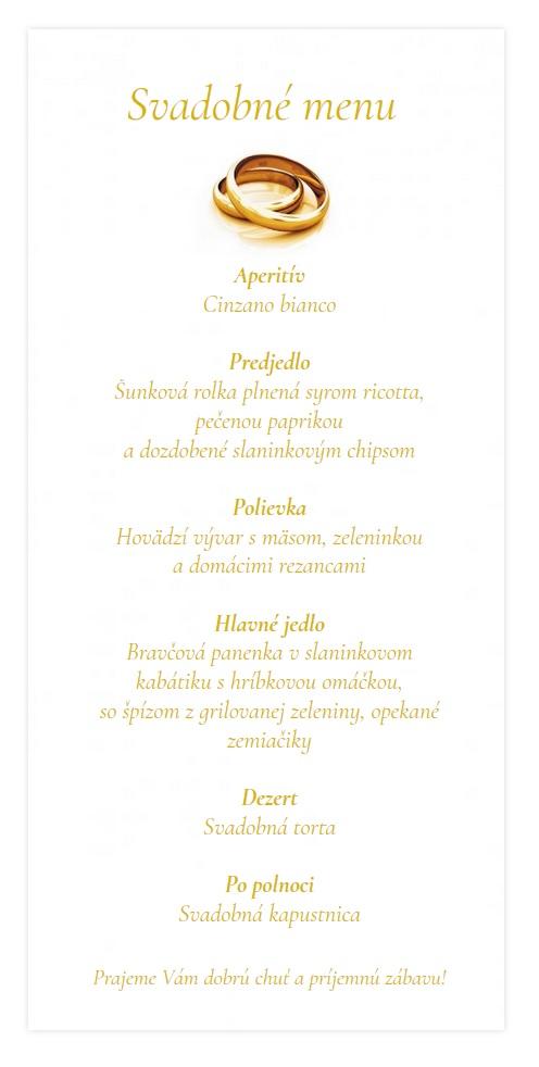 f6619b2f255e Svadobné menu zlatá obrúčka s tieňom srdca